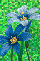 Blue-Eyed grass Duet – mosaic made with recycled candy and drink labels